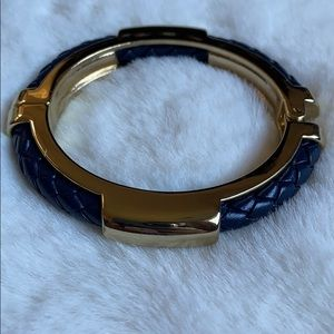 Jewelry - Gold and blue braided faux leather bangle
